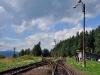 Vjezd do stanice Hrotová úvrať z osy koleje od Větřní