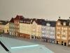 Blok městských domů plný LED