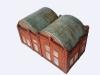 Střechu slévárny jsem vytvaroval z tenkého plastu a nalepil na ni Al-plech