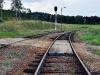 Odjezdové koleje ze stanice - vpravo do Kájová, vlevo do Větřní