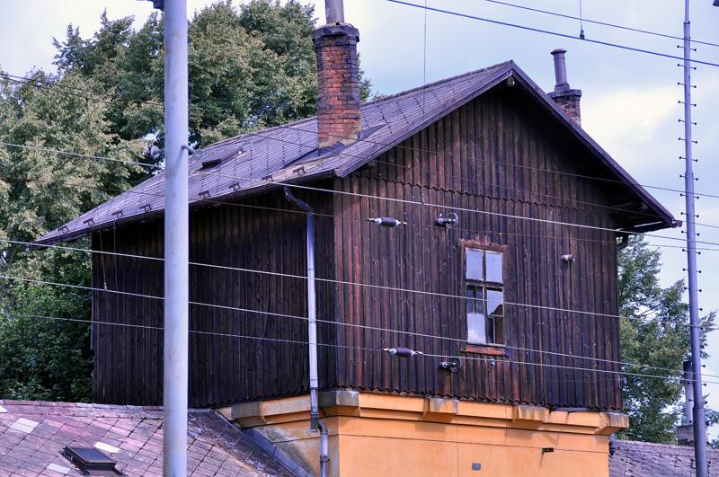 Stará vodárna - Jindřichův Hradec (na snímku jsou patrné kladky pro lanko vodoznaku)
